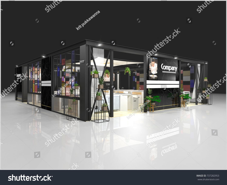 Modern Exhibition Stand Designs : Exhibition stand modern design used mockups stock illustration
