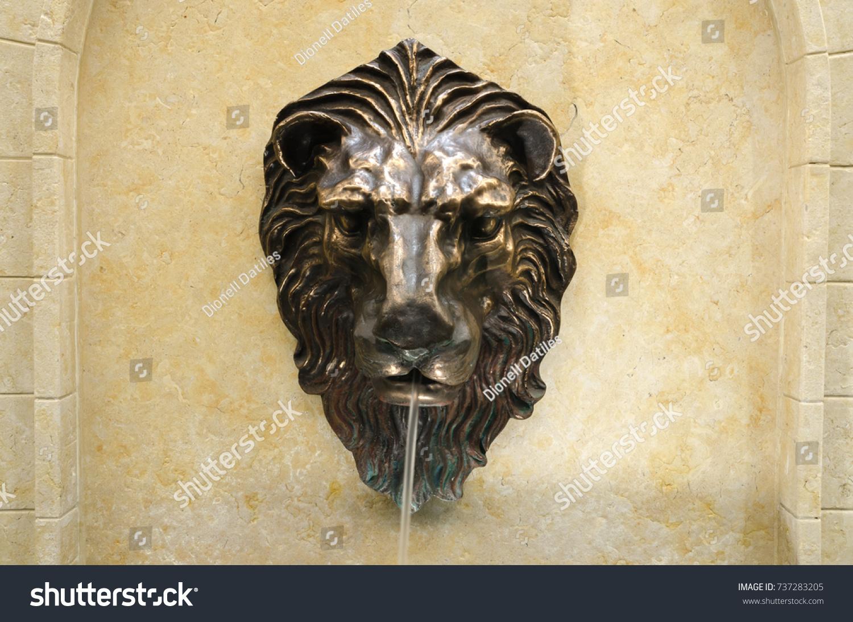 Bronze Lion Head Fountain Spout Concrete Stock Photo (100% Legal ...