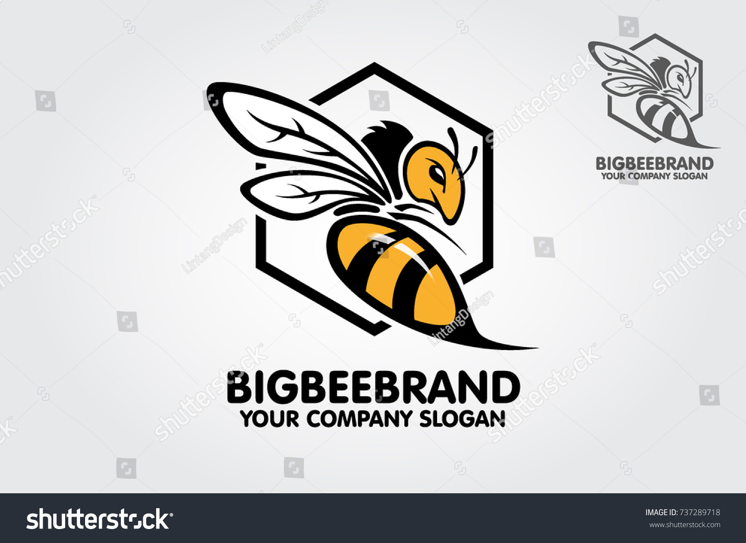 this big bee logo template decorative stock vector royalty free