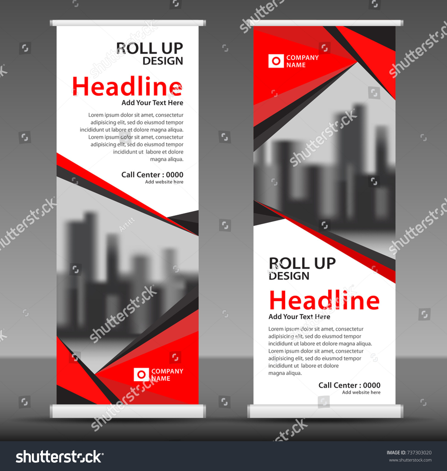 red roll up banner stand template design flyer layout vector pull