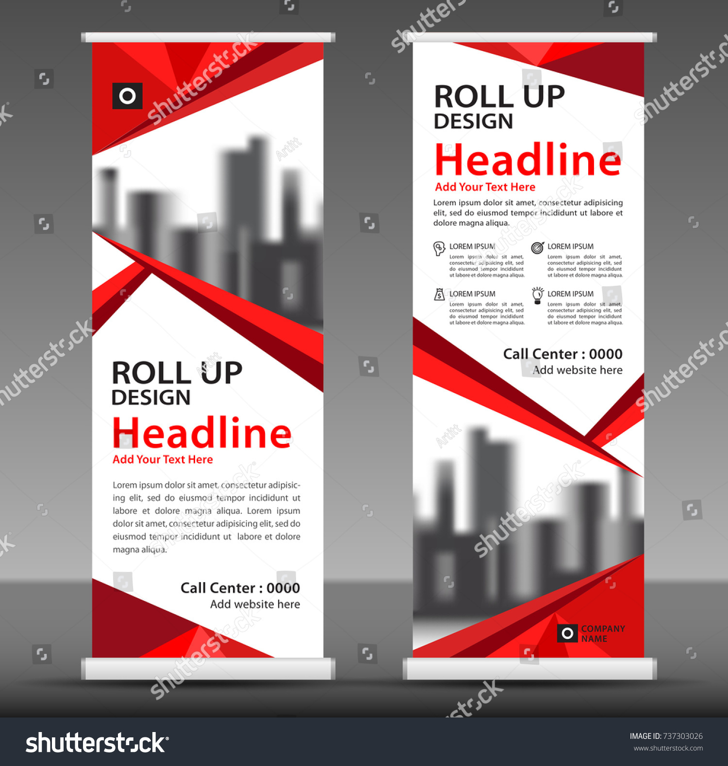 red roll banner stand template design のベクター画像素材