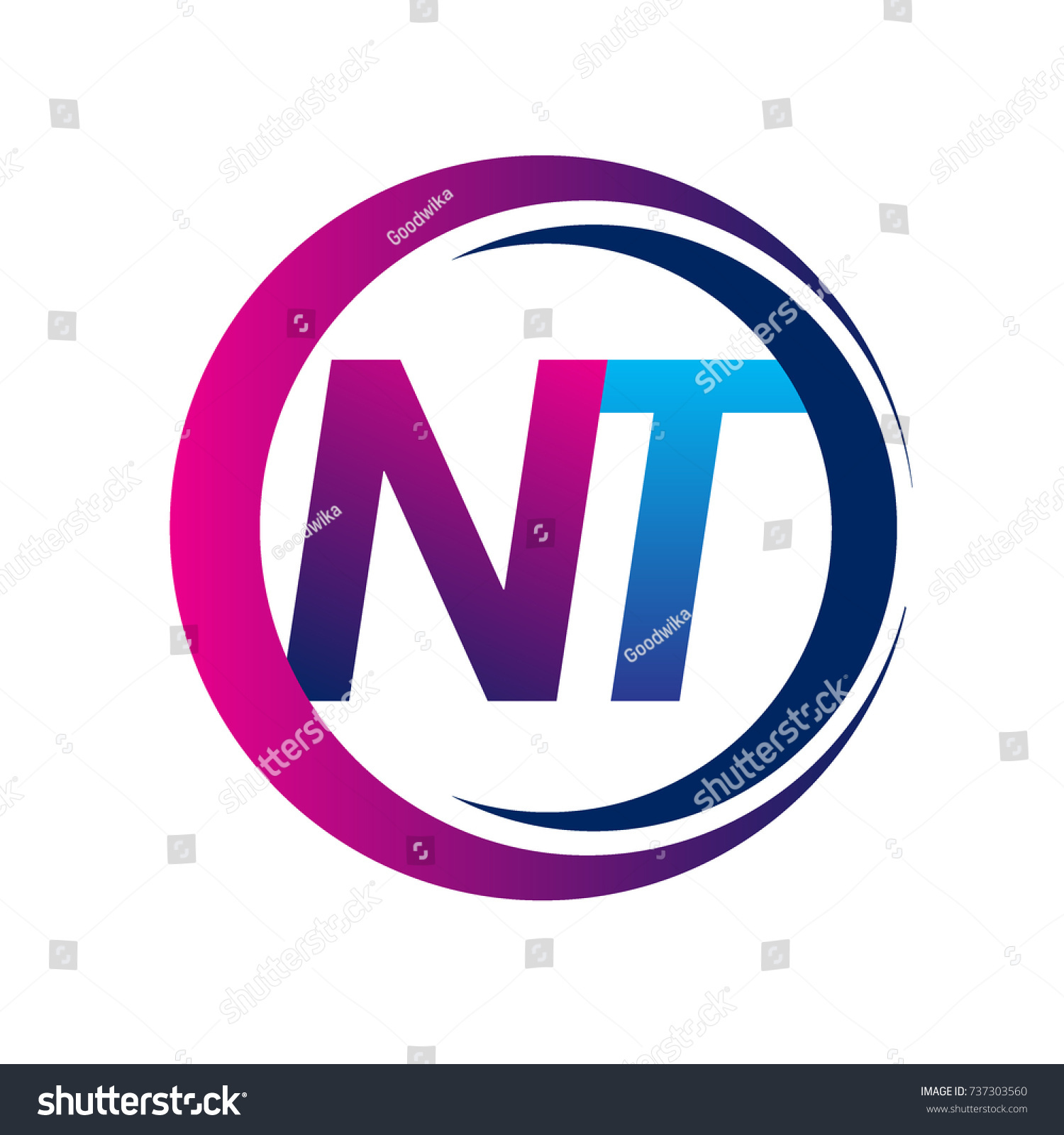 Initial Letter Logo Nt Company Name Stock Vector Royalty Free