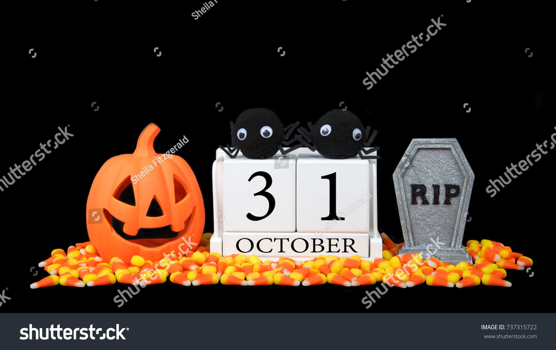 Wooden Calendar Blocks Depicting Date Halloween Stock Photo ...