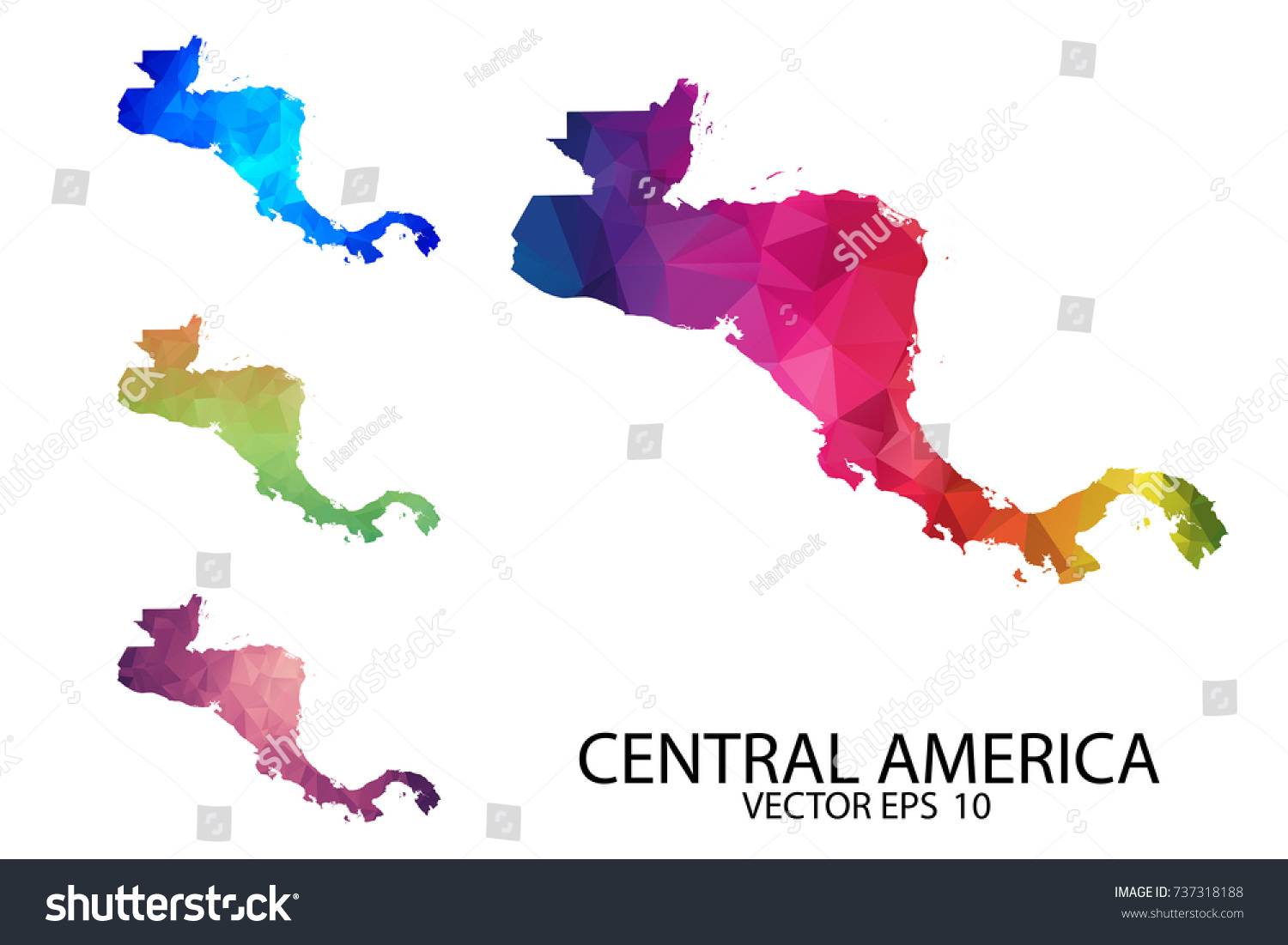 Set Of Polygonal Map Blank On White Background   Central America Map Of  Isolated. Vector