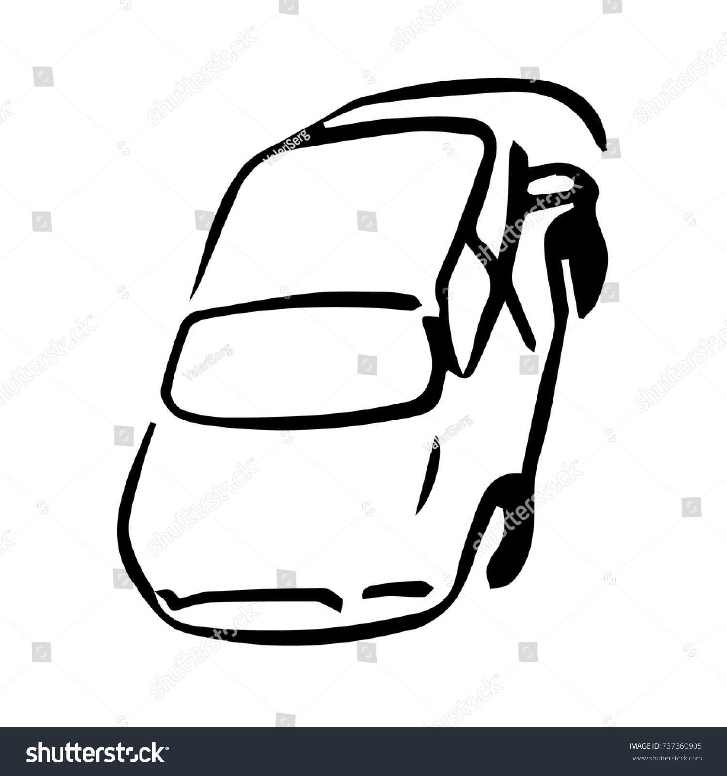 Car view above black white vector stock vector royalty free