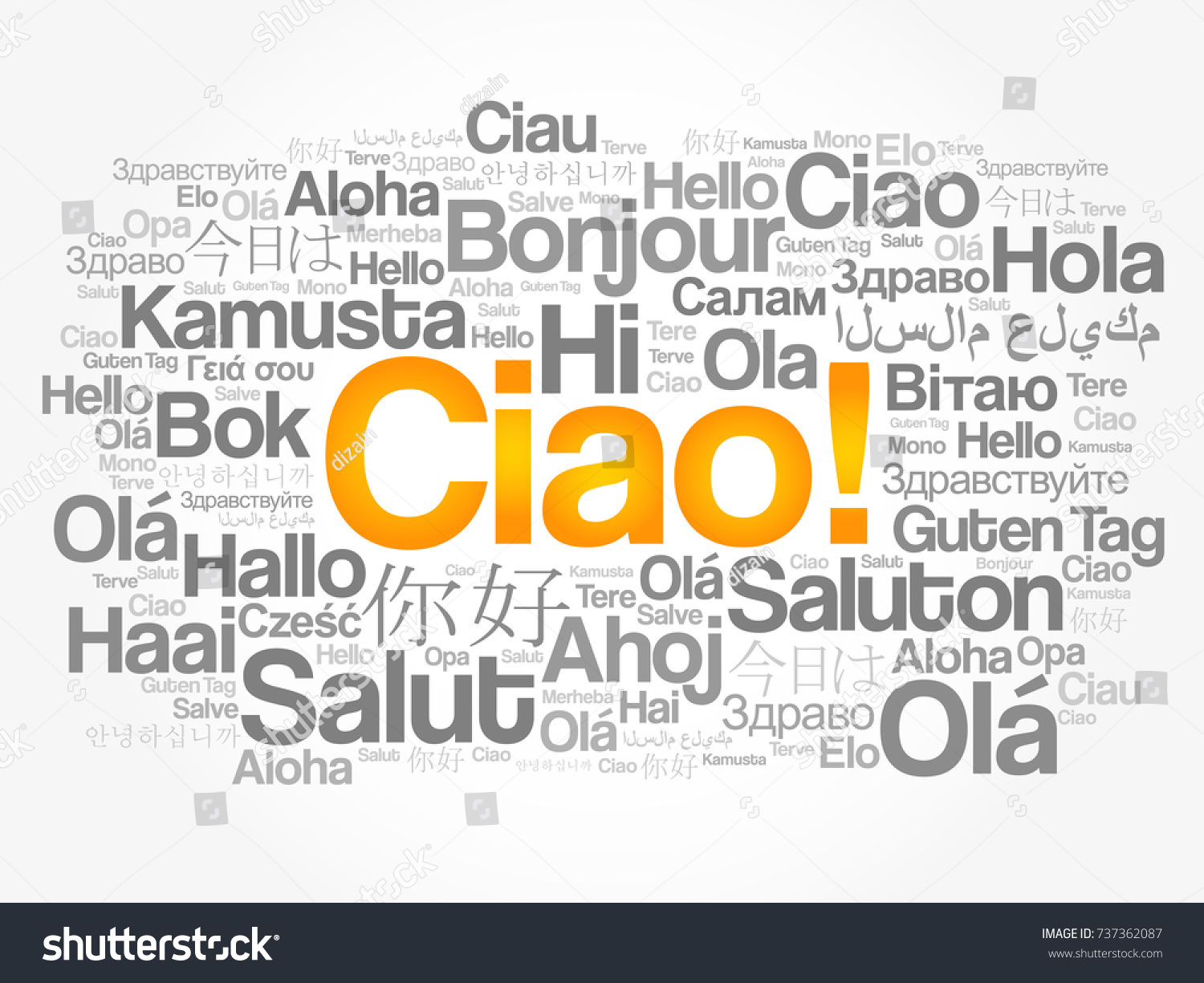 Ciao Hello Greeting Italian Word Cloud Stock Vector 2018 737362087