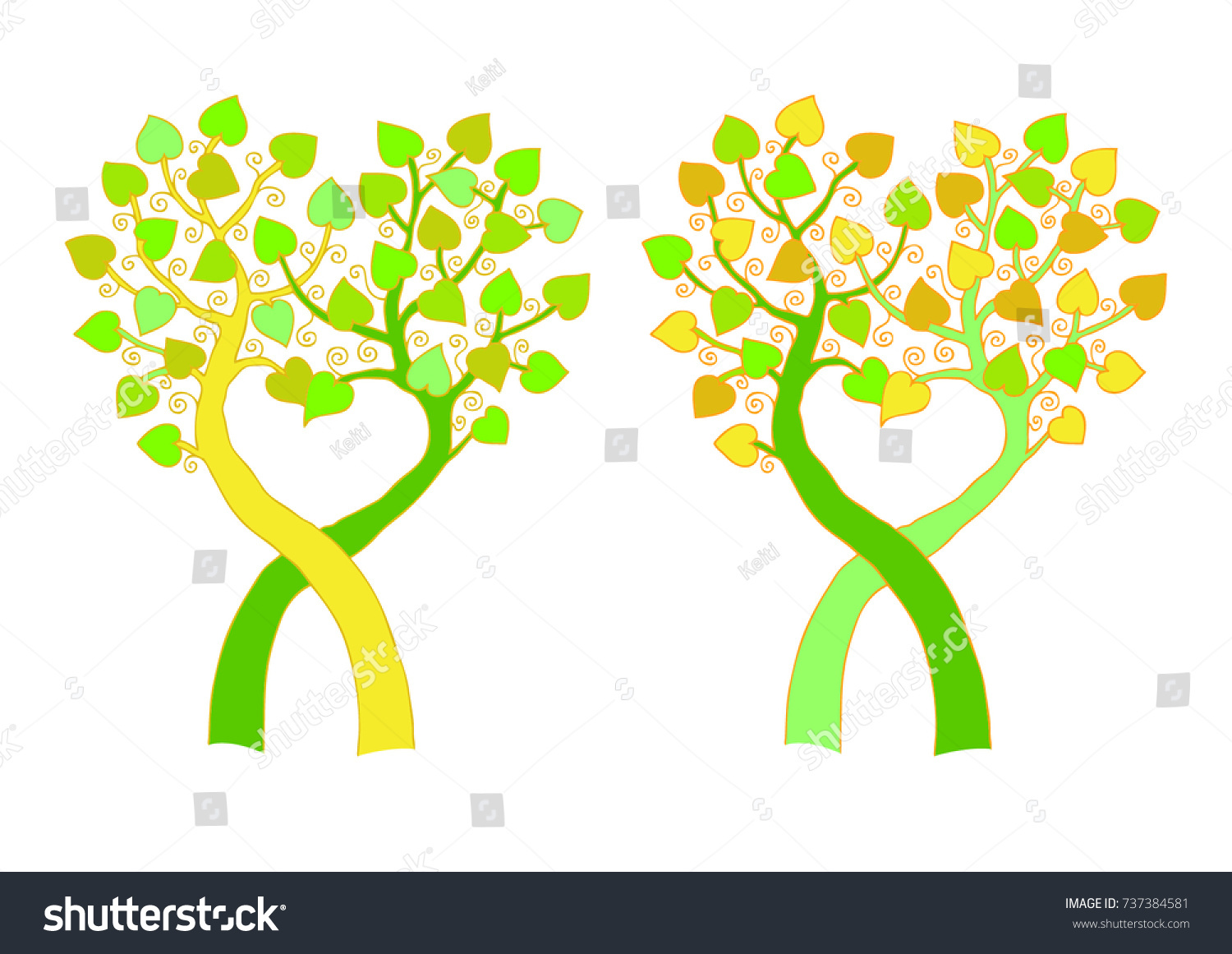 Two Tree Heart Two Color Variants Stock Vector 737384581 - Shutterstock