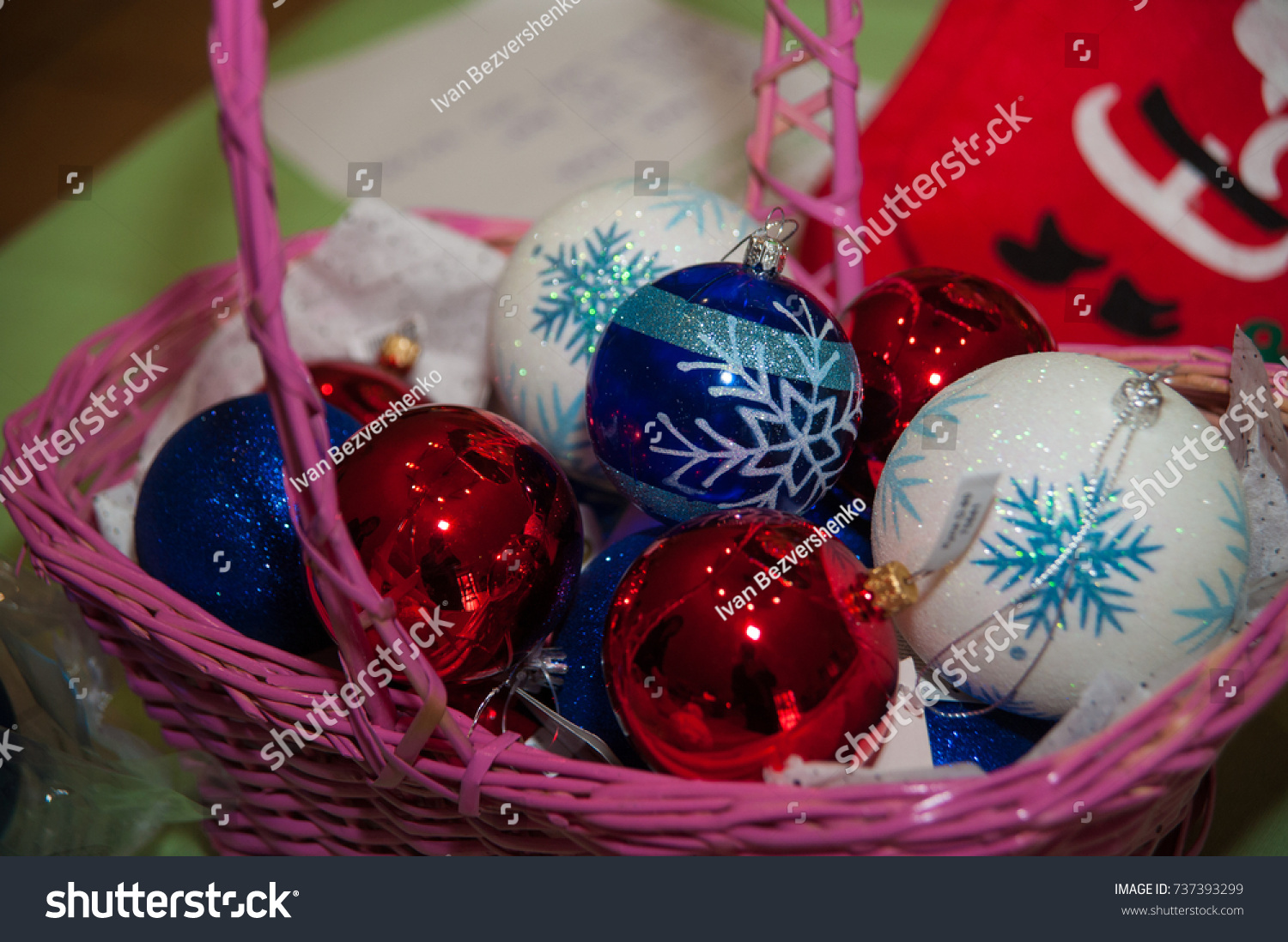Colorful Christmas Tree Decorations Pink Basket