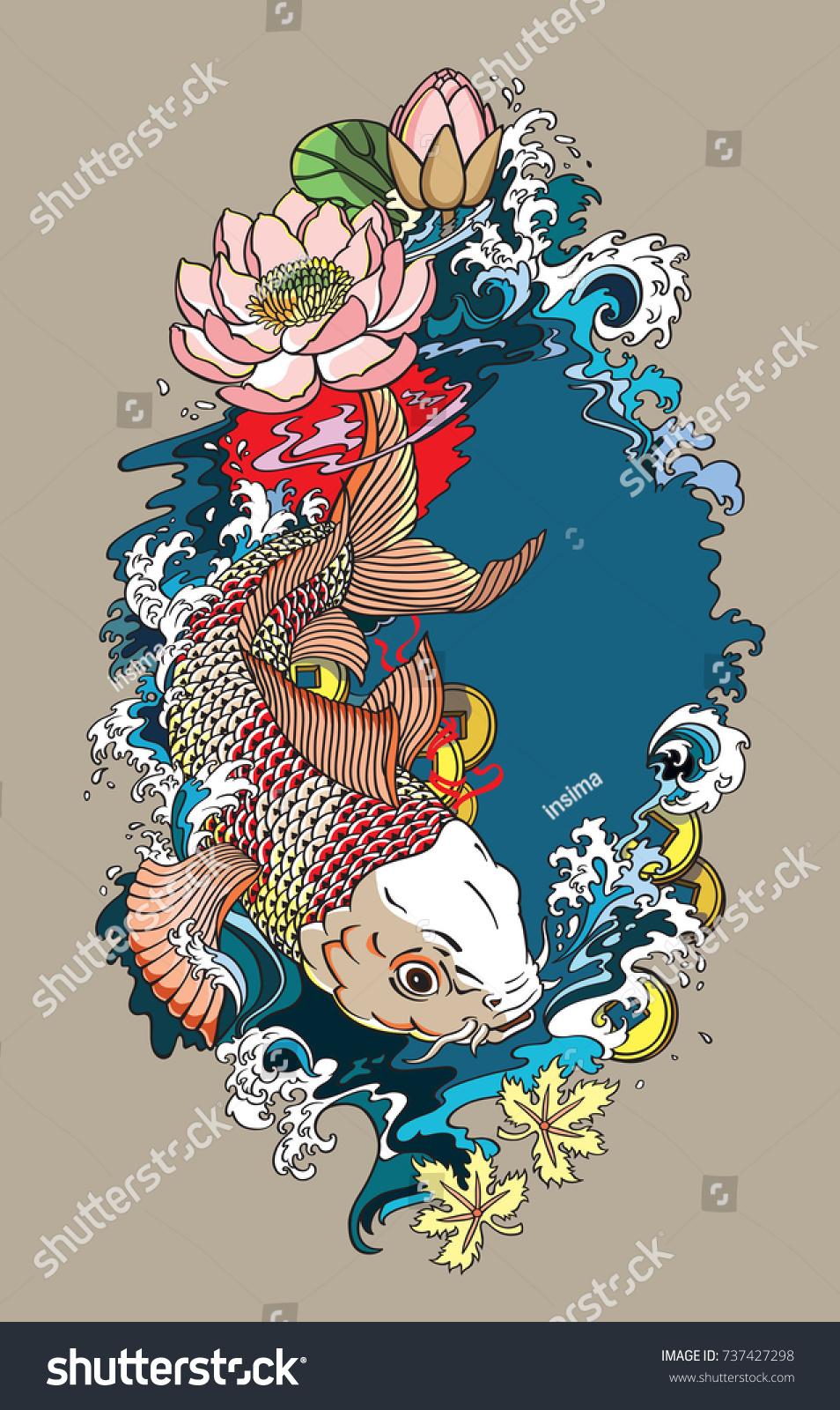Japanese Koi Gold Carp Fish Lotus Stock Vector Royalty Free