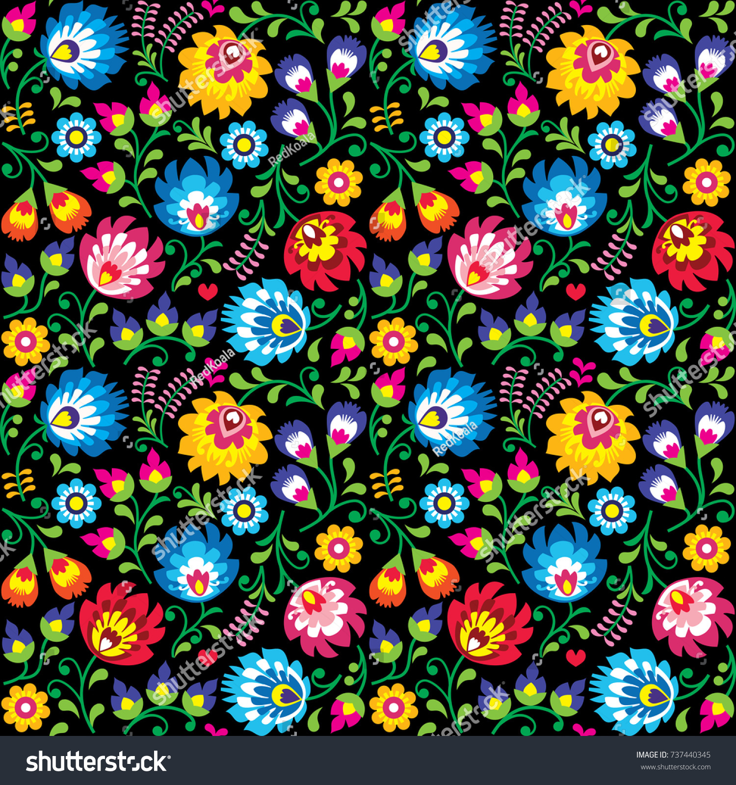 Seamless Vector Polish Folk Art Floral Stock Vector Royalty Free