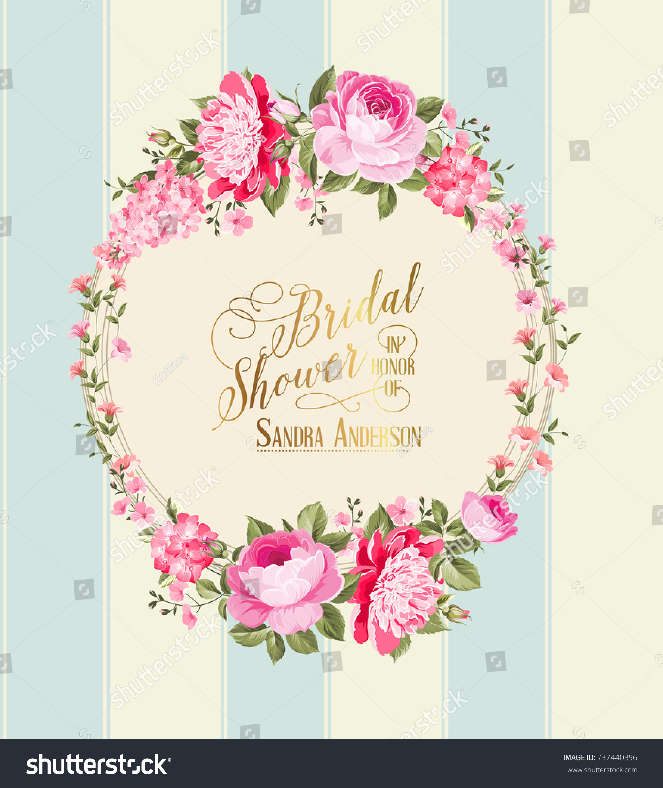 Wedding Invitation Card With Pink Flowers Vintage Template Boy And Girl