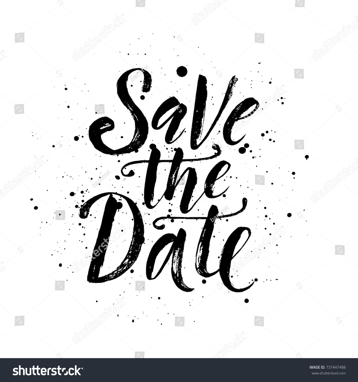 Save Date Wedding Phrase Brush Lettering Stock Vector HD Royalty