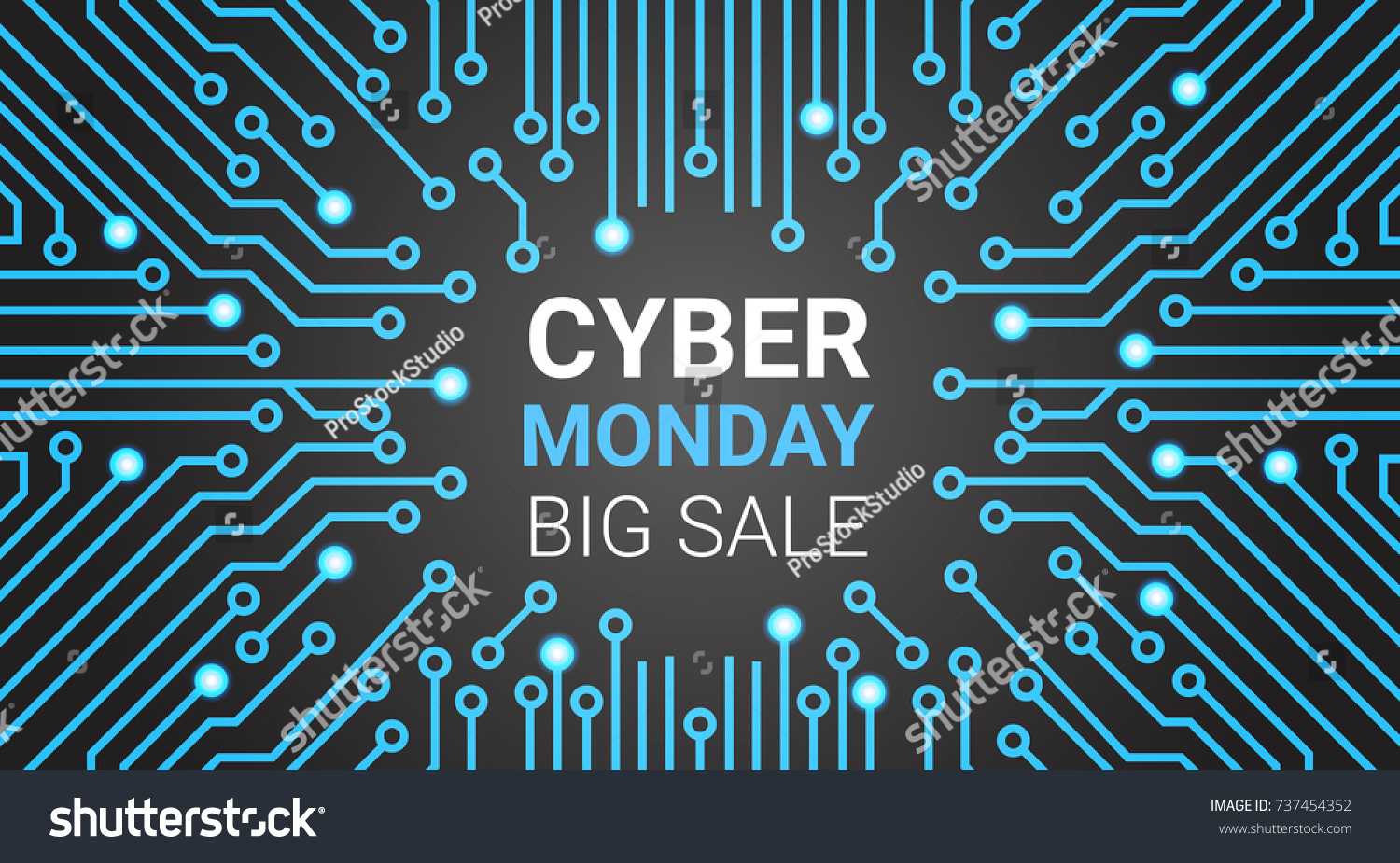Cyber Monday Banner Circuit Background Big Stock Vector 737454352 ...
