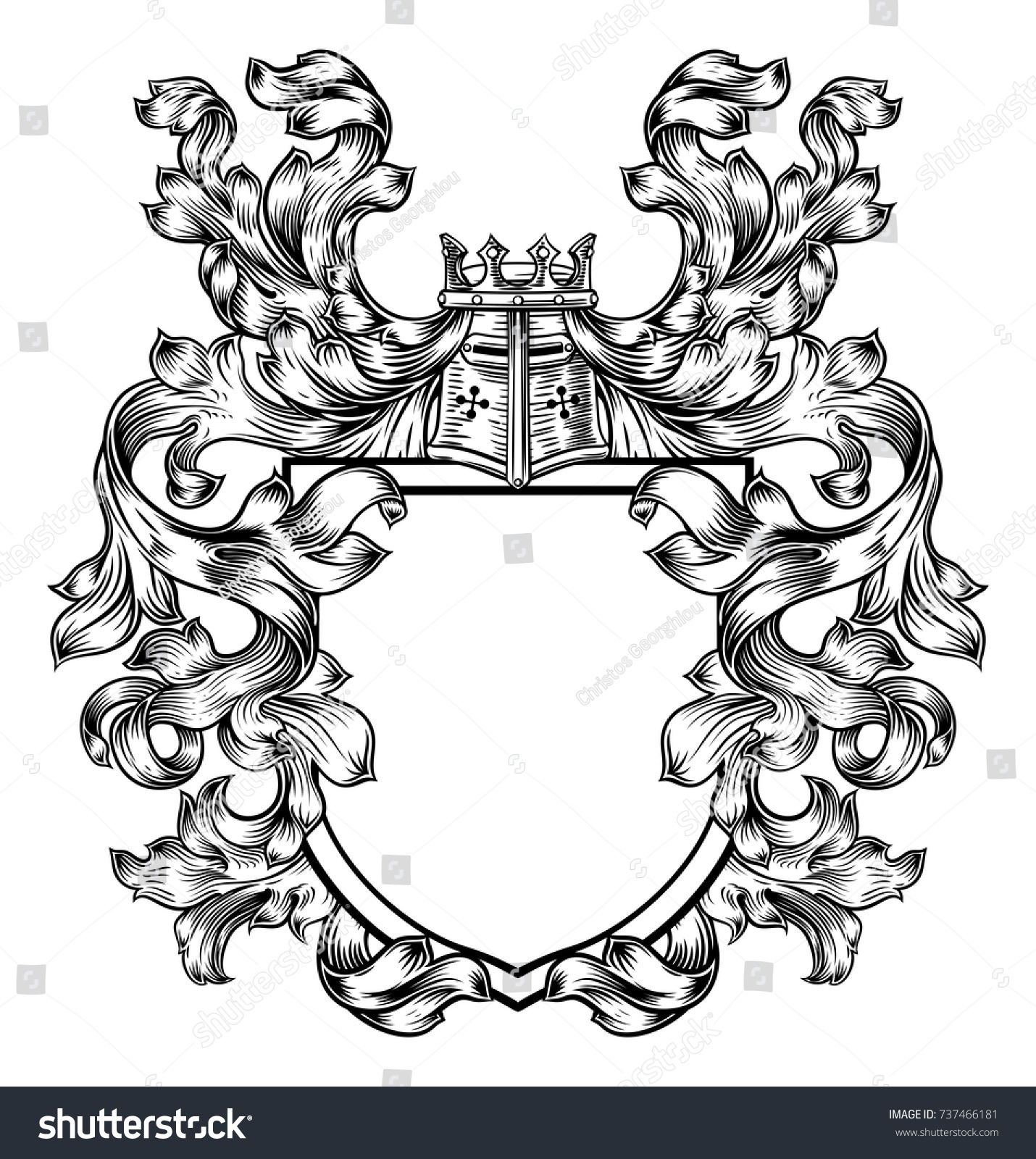 Coat Arms Medieval Heraldic Crest Shield Stock Vector Royalty Free