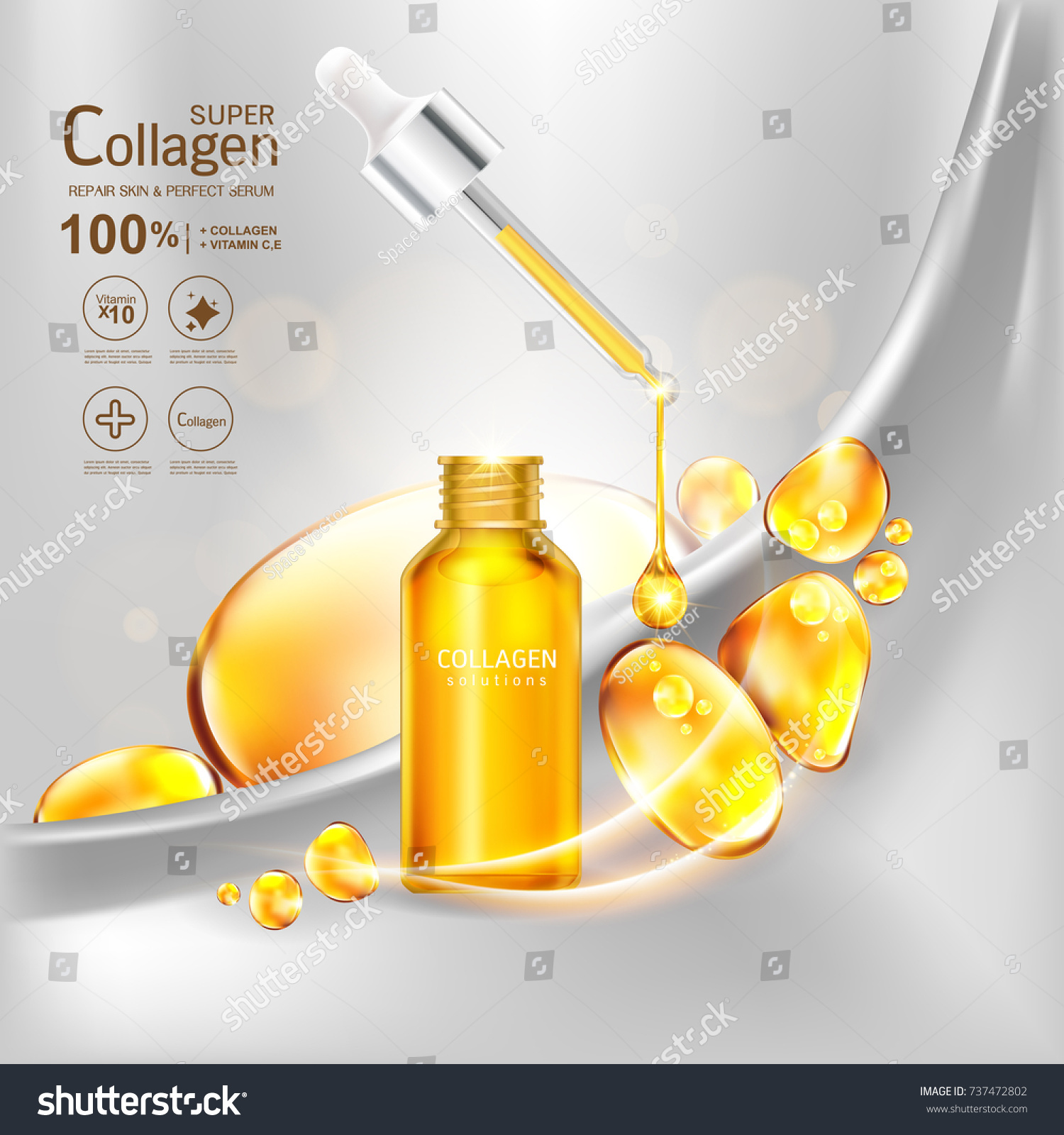 Super Collagen Serum Vitamin Vector Background Stock Royalty Or Skin Care Cosmetic Concept