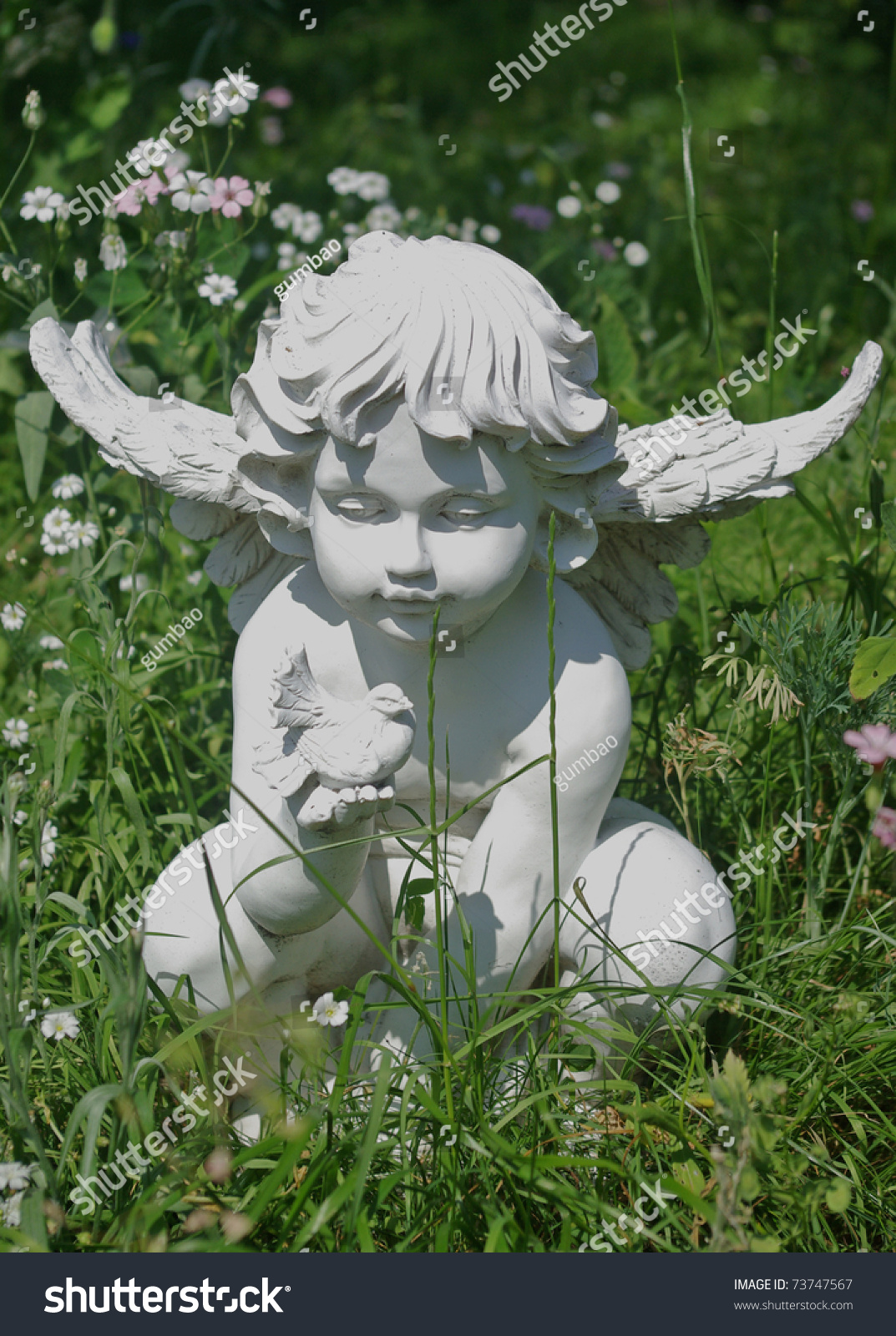 Garden Statue Angel Holding Dove Stock Photo 73747567 Shutterstock