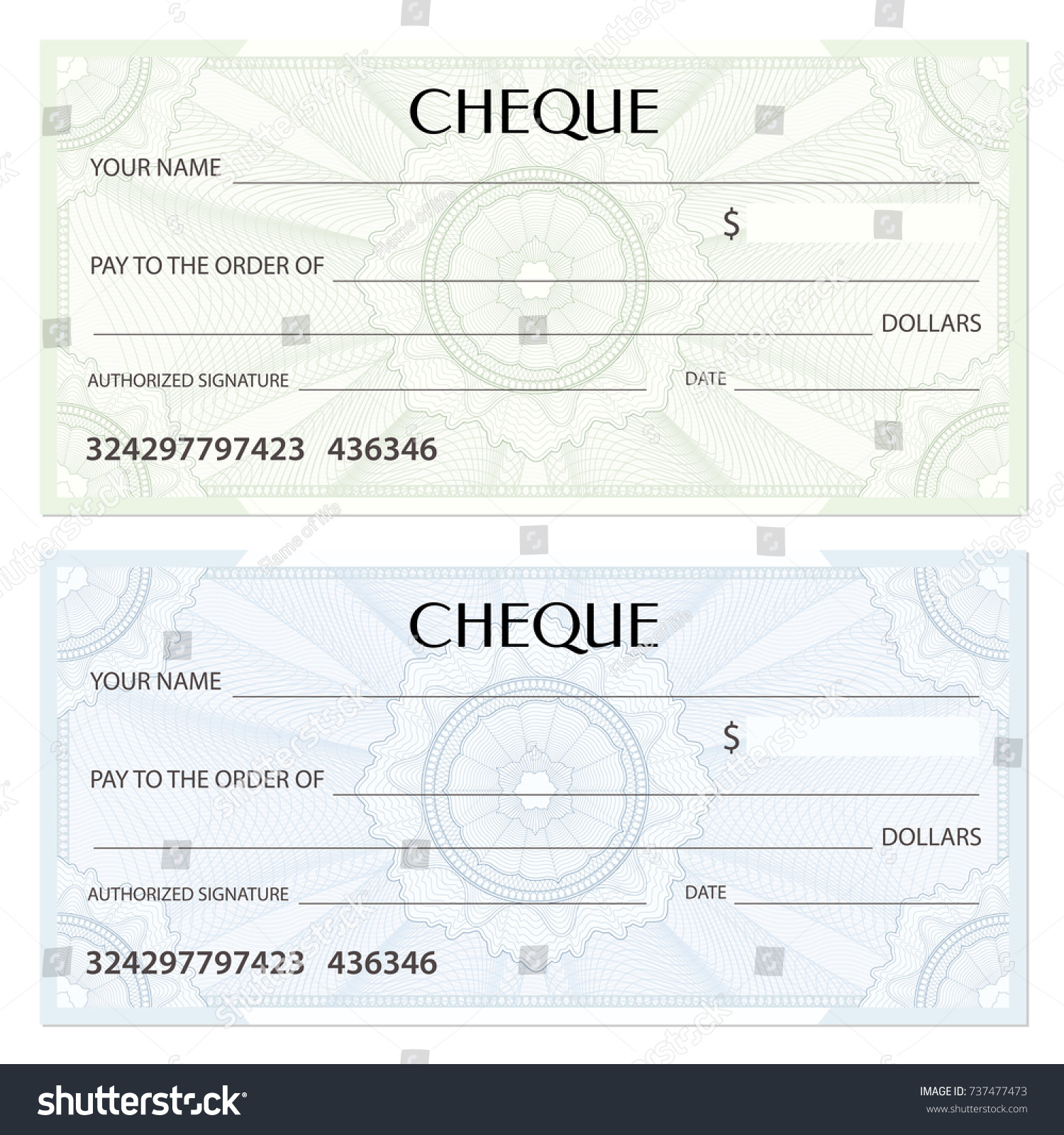 Check Cheque Chequebook Template Guilloche Pattern Stock Vector .