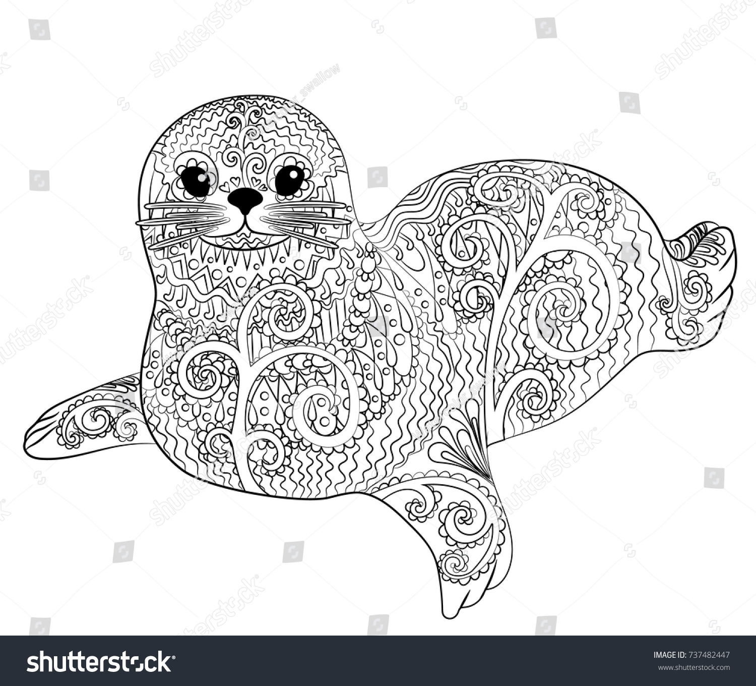 Hand Drawn Isolated Illustration Baby Seal Stock Vector Royalty Free 737482447
