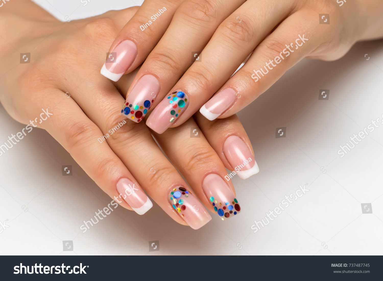 Wedding French White Manicure Sparkles Confetti Stock Photo (Royalty ...