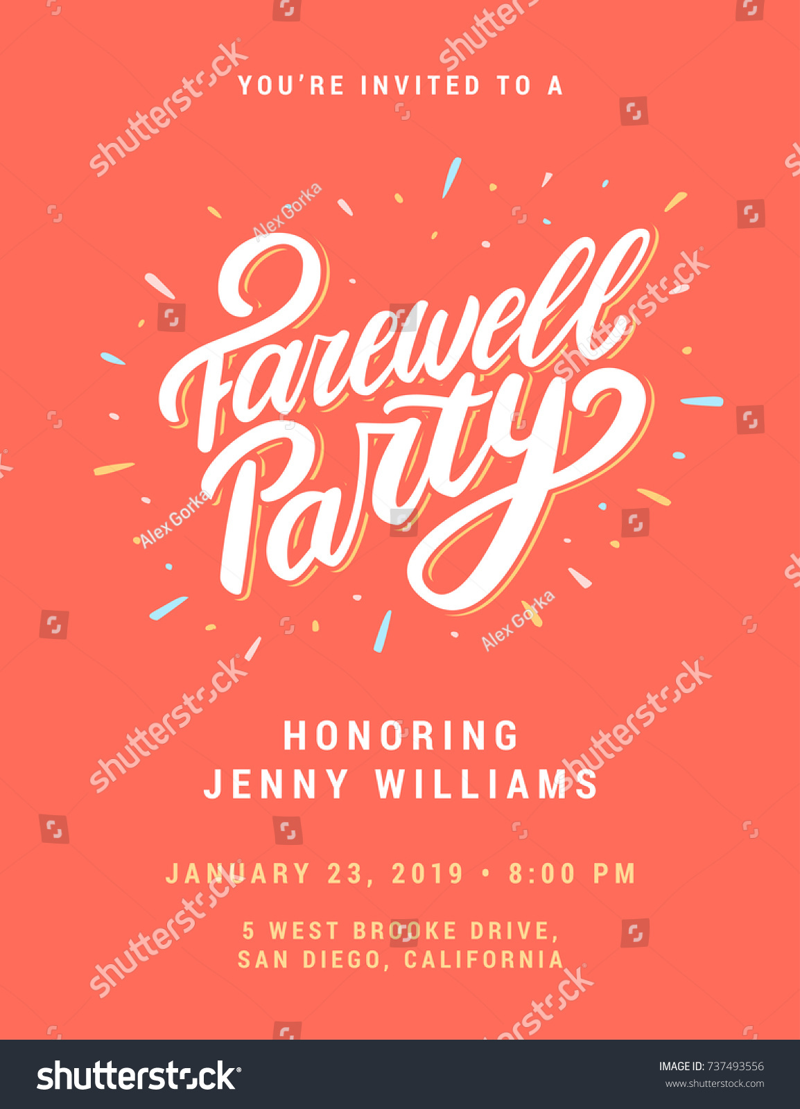 farewell party invitation template stock vector 737493556 - Goodbye Party Invitation