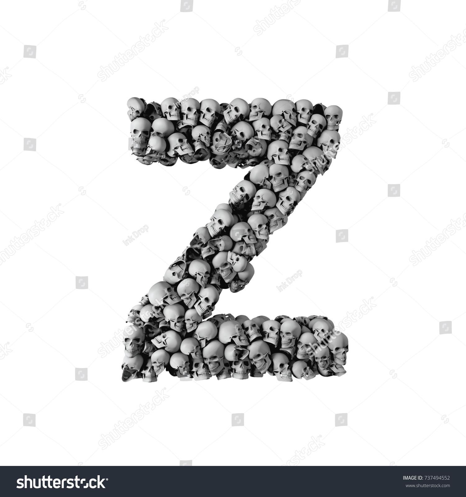 Skull Font Letter Z Letter Made Stock Illustration 737494552