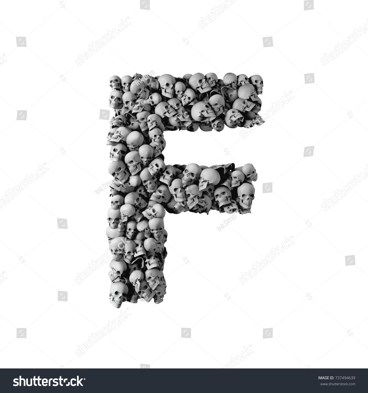 Skull Font Letter F Letter Made Stock Illustration 737494639