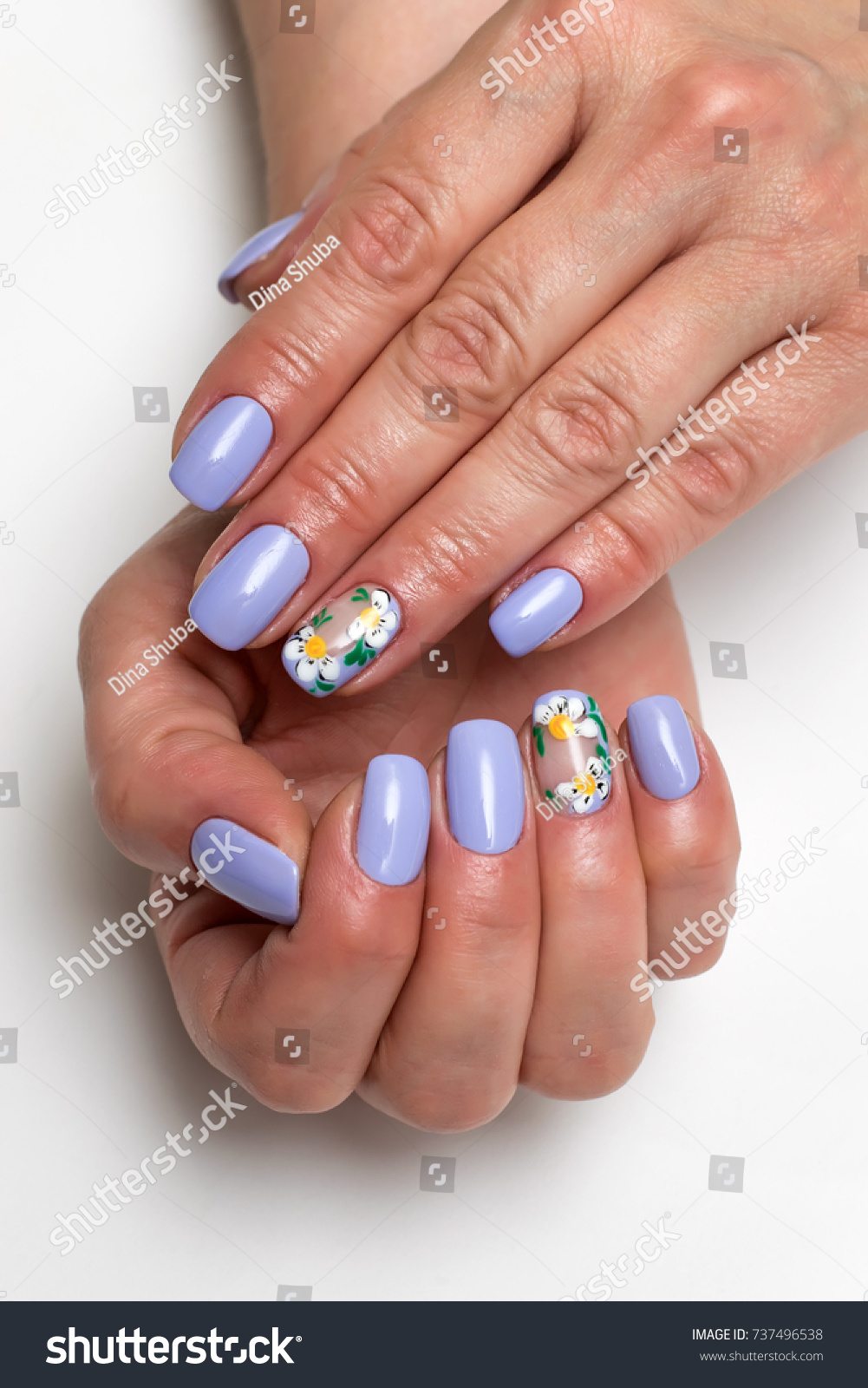 Purple Lilac Manicure Painted Daisies On Stock Photo 737496538 ...