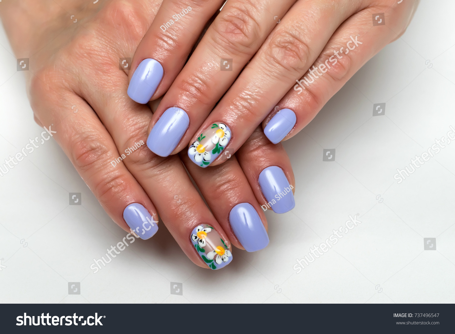 Purple Lilac Manicure Painted Daisies On Stock Photo (Royalty Free ...