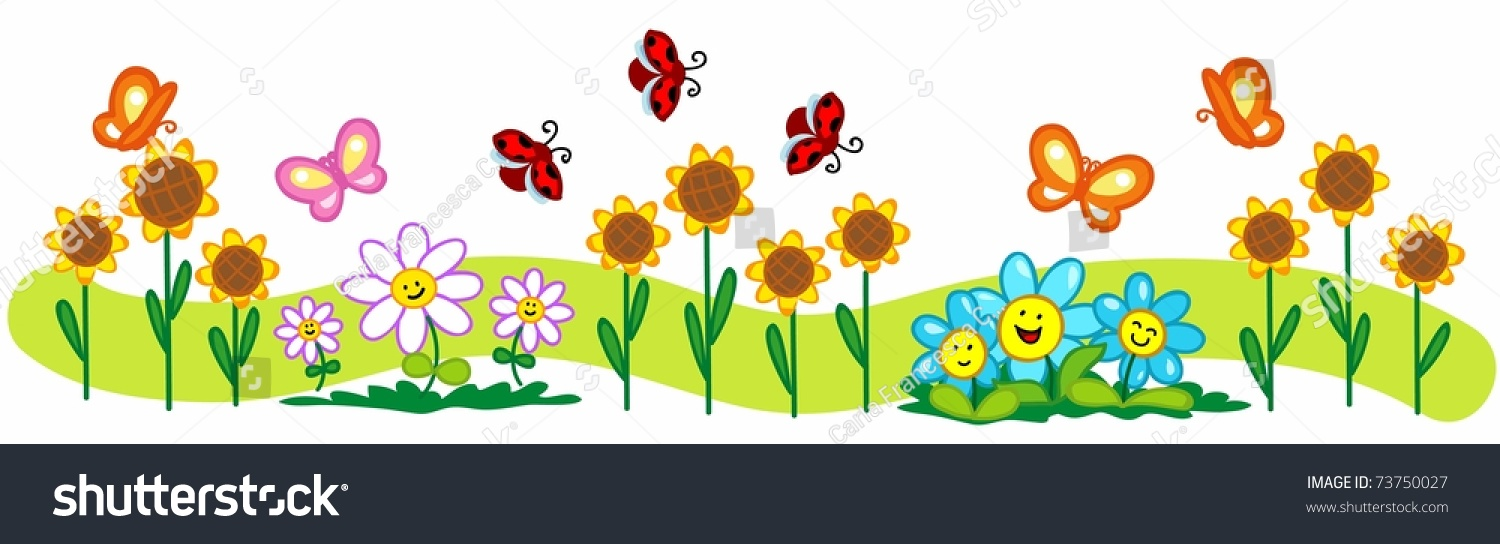 Cartoon Spring Illustration A Line Of Flowers Cute Butterflies And Ladybirds