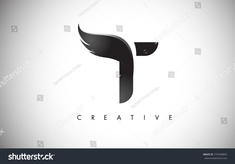 t letter wings logo design icon のベクター画像素材 ロイヤリティ