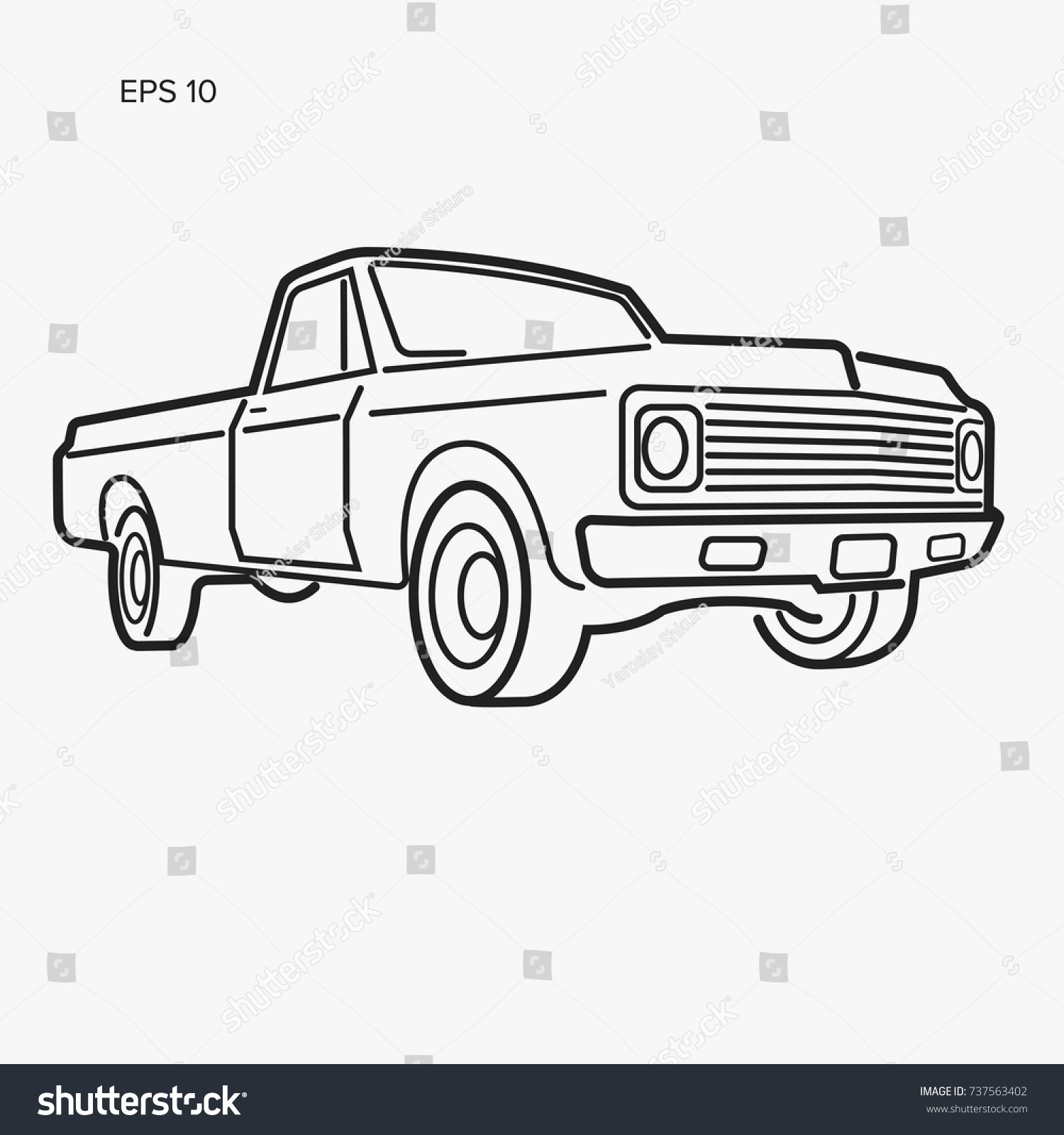 Vintage Pickup Truck Vector Illustration Line Stock Vector ...