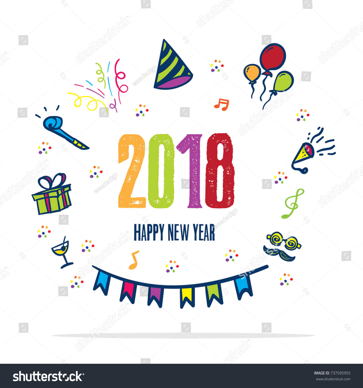 2018 Happy New Year Doodle Party Stock Vector (Royalty Free ...