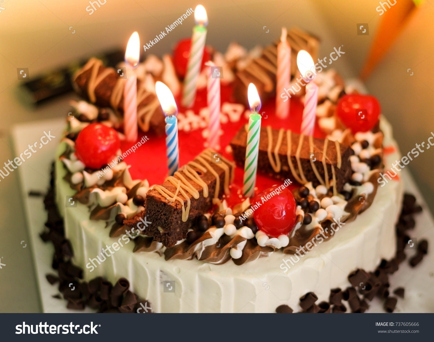 Peachy Kindle Candle On Homemade Birthday Cake Stock Photo Edit Now Funny Birthday Cards Online Elaedamsfinfo