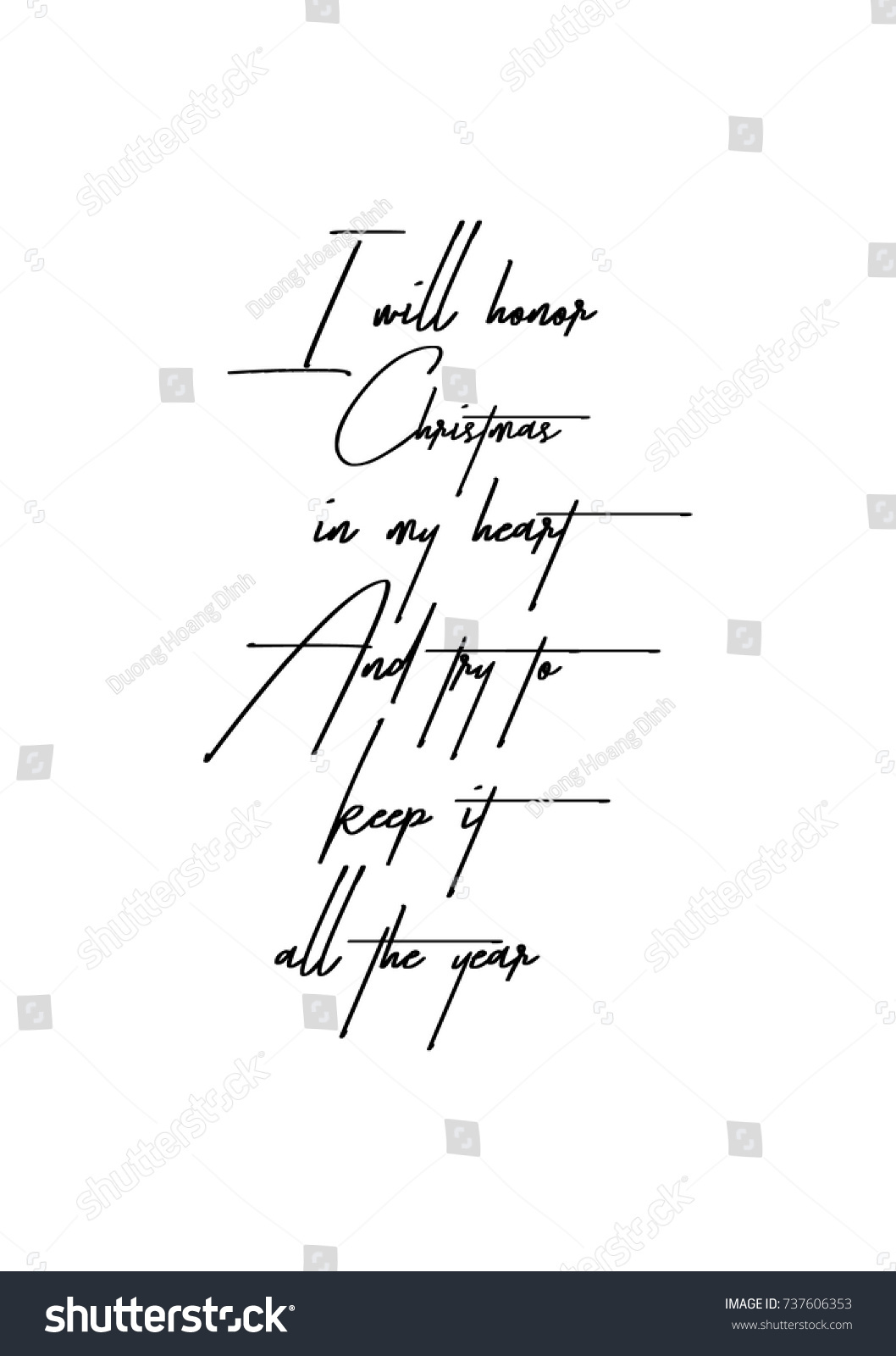 Christmas Greeting Card Brush Calligraphy Vector Stock Vector ...