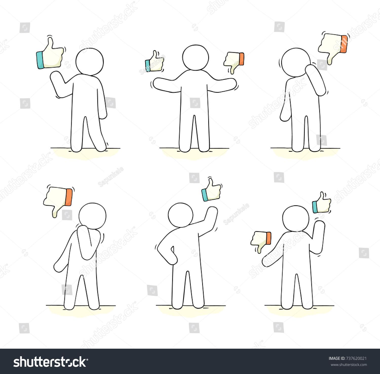 Sketch people like dislike signs doodle stock vector 737620021 sketch of people with like and dislike signs doodle cute miniature scene with communication symbols buycottarizona Images