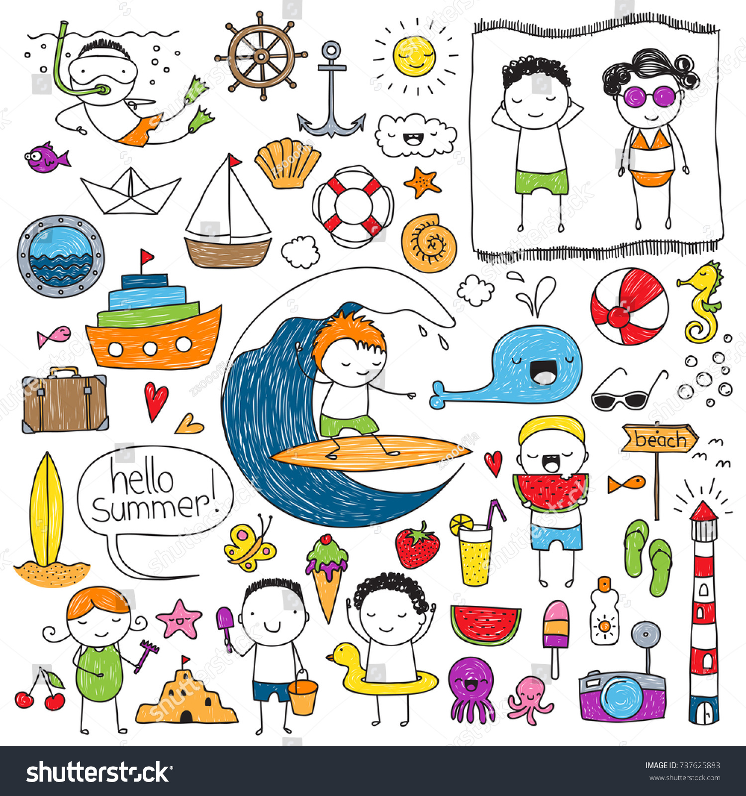Uncategorized Drawings Of Summer collection cute childrens drawings summer related stock vector of things colored imperfectly