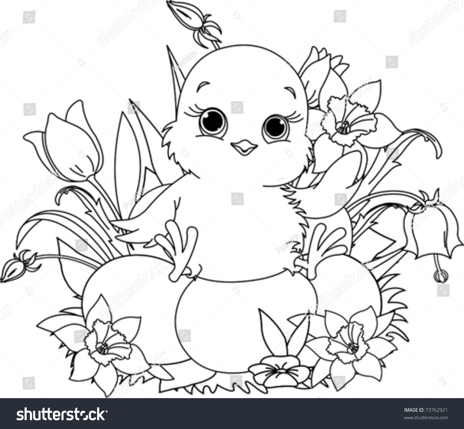 newborn chick sitting on easter eggs coloring page