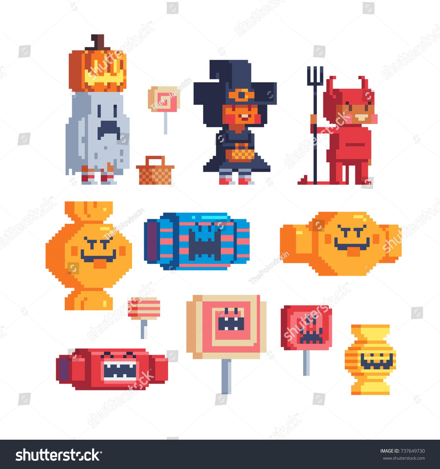 Halloween Trick Treating Costume Kids Pixel Stock Vector (2018 ...