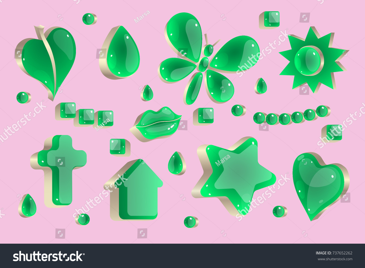 Jewelry Decoration Stylized Green Heart Leaf Stock Vector ...
