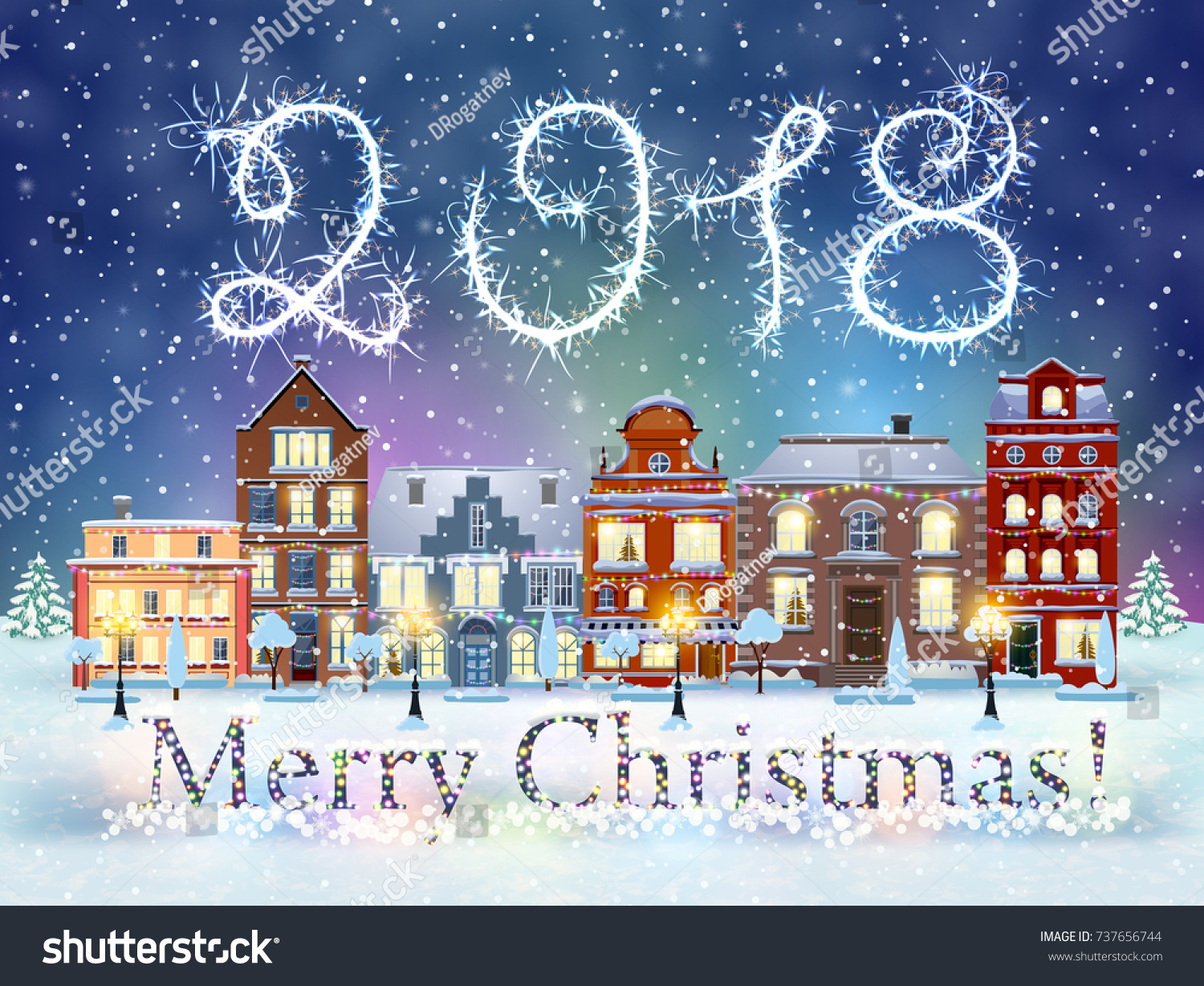 happy new year and merry christmas winter old town street with trees christmas card with