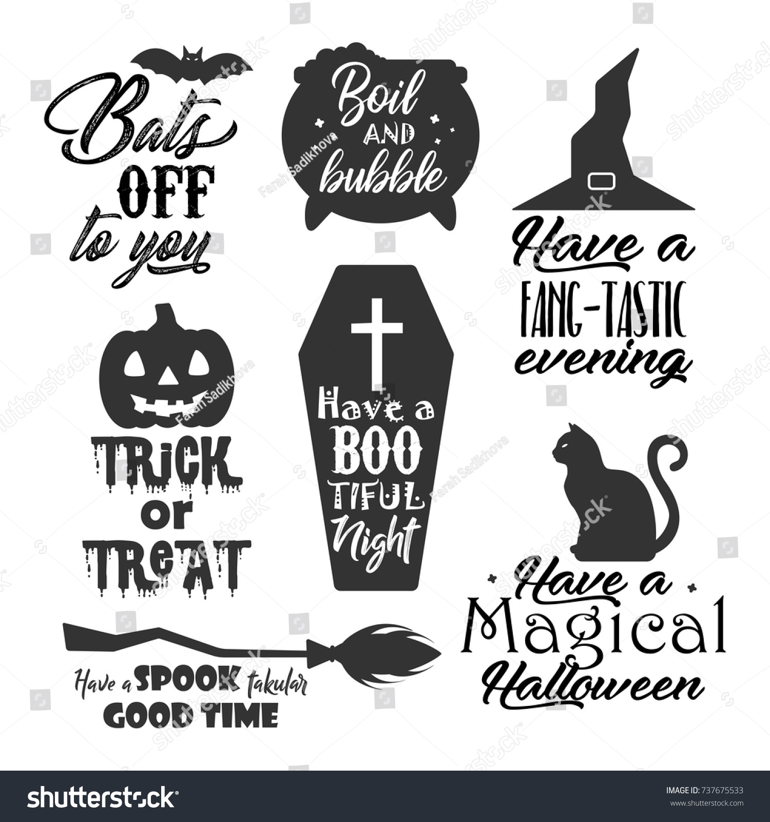 Halloween Related Quote Lettering Typography Set Stock Vector HD ...