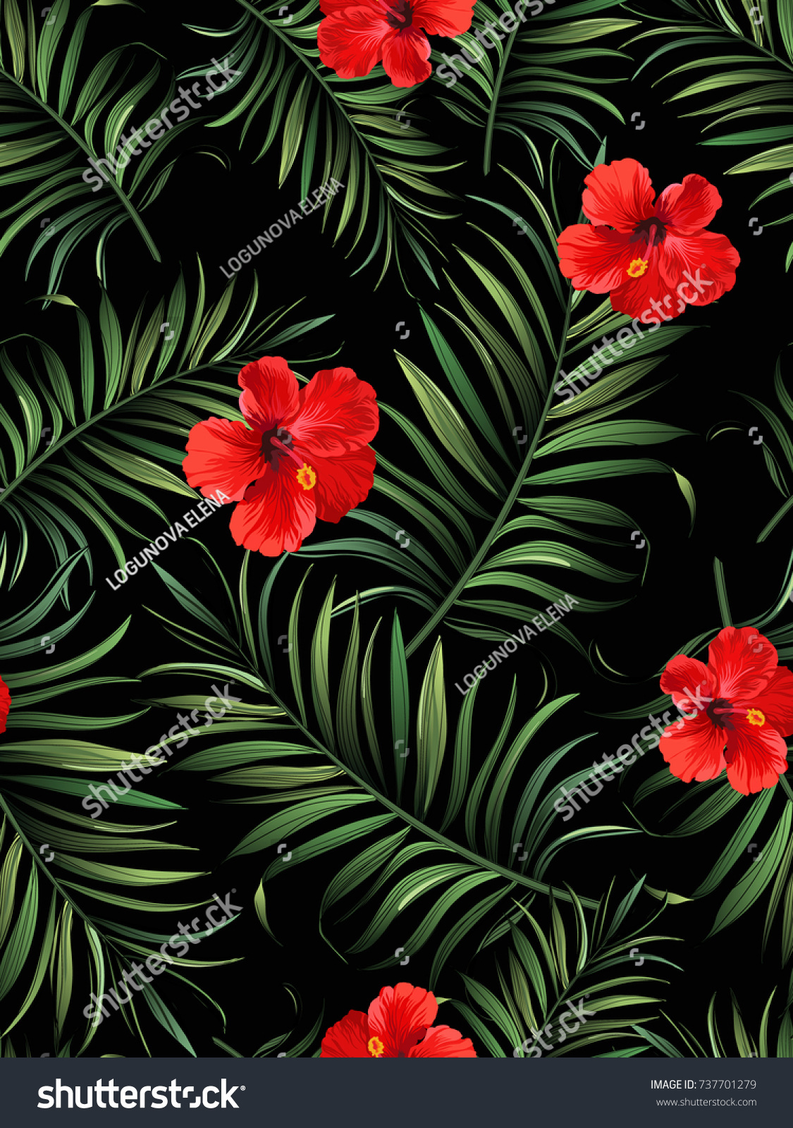 Exotic tropical background hawaiian plants flowers stock vector exotic tropical background with hawaiian plants and flowers seamless vector pattern with palm leaves and izmirmasajfo