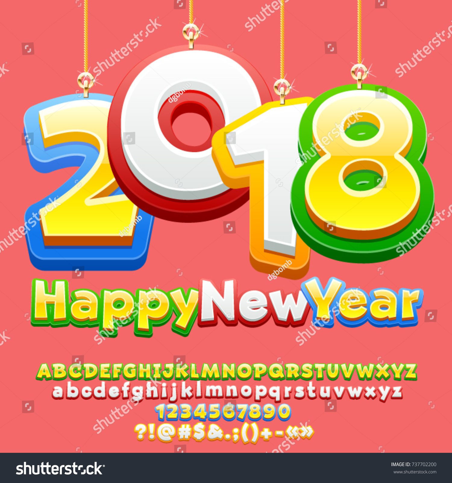 vector happy new year 2018 greeting card for children with cute christmas toys funny alphabet