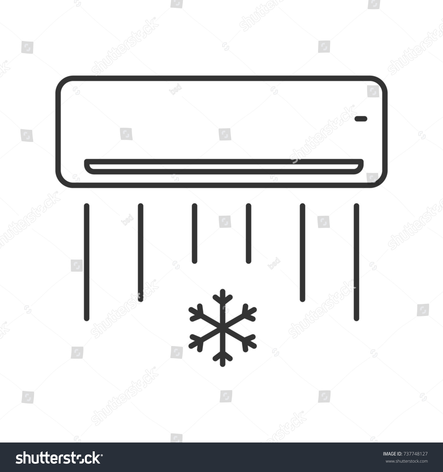 Air Conditioner Linear Icon Thin Line Stock Illustration 737748127