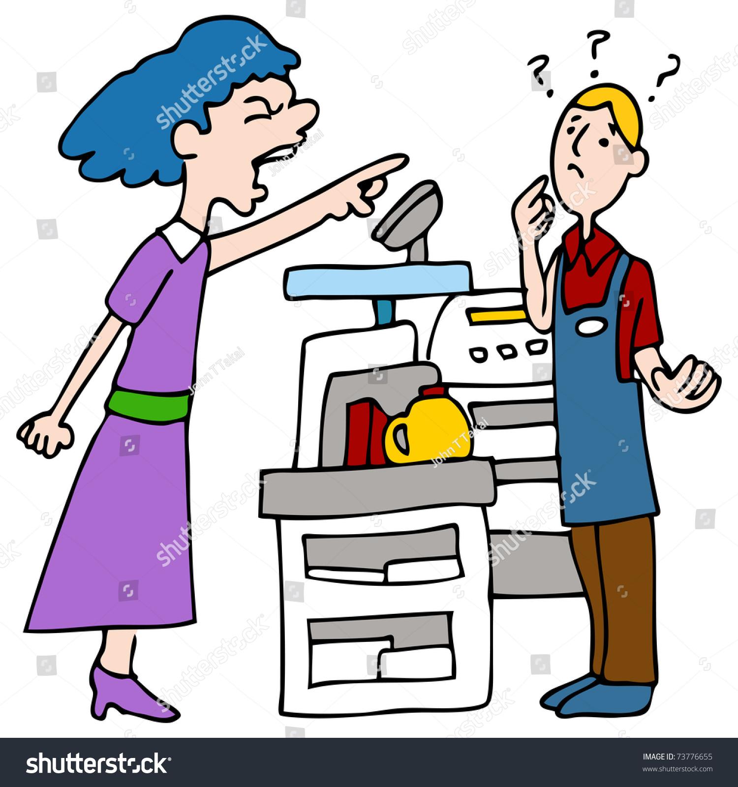 Cashier Cartoons: Image Customer Yelling Cashier Stock Vector 73776655