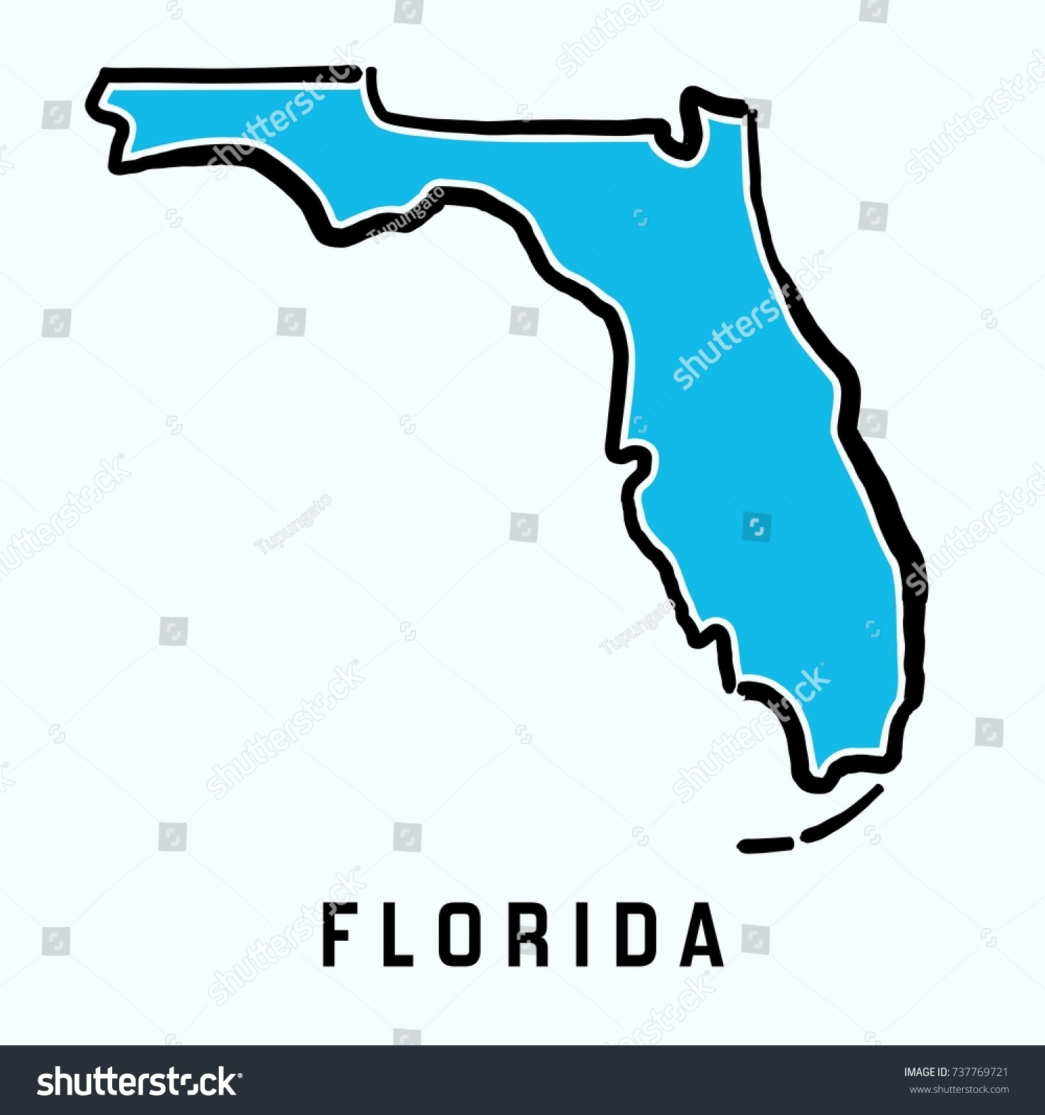 Florida Map Outline Smooth Simplified Us Stock Vector 737769721