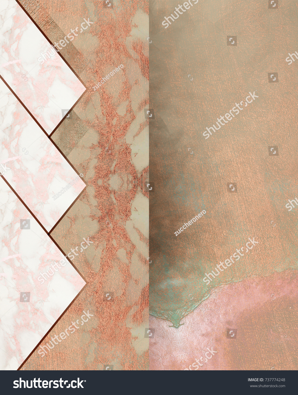 Rosegold Marble Background Minimal Geometric Wallpaper Stock