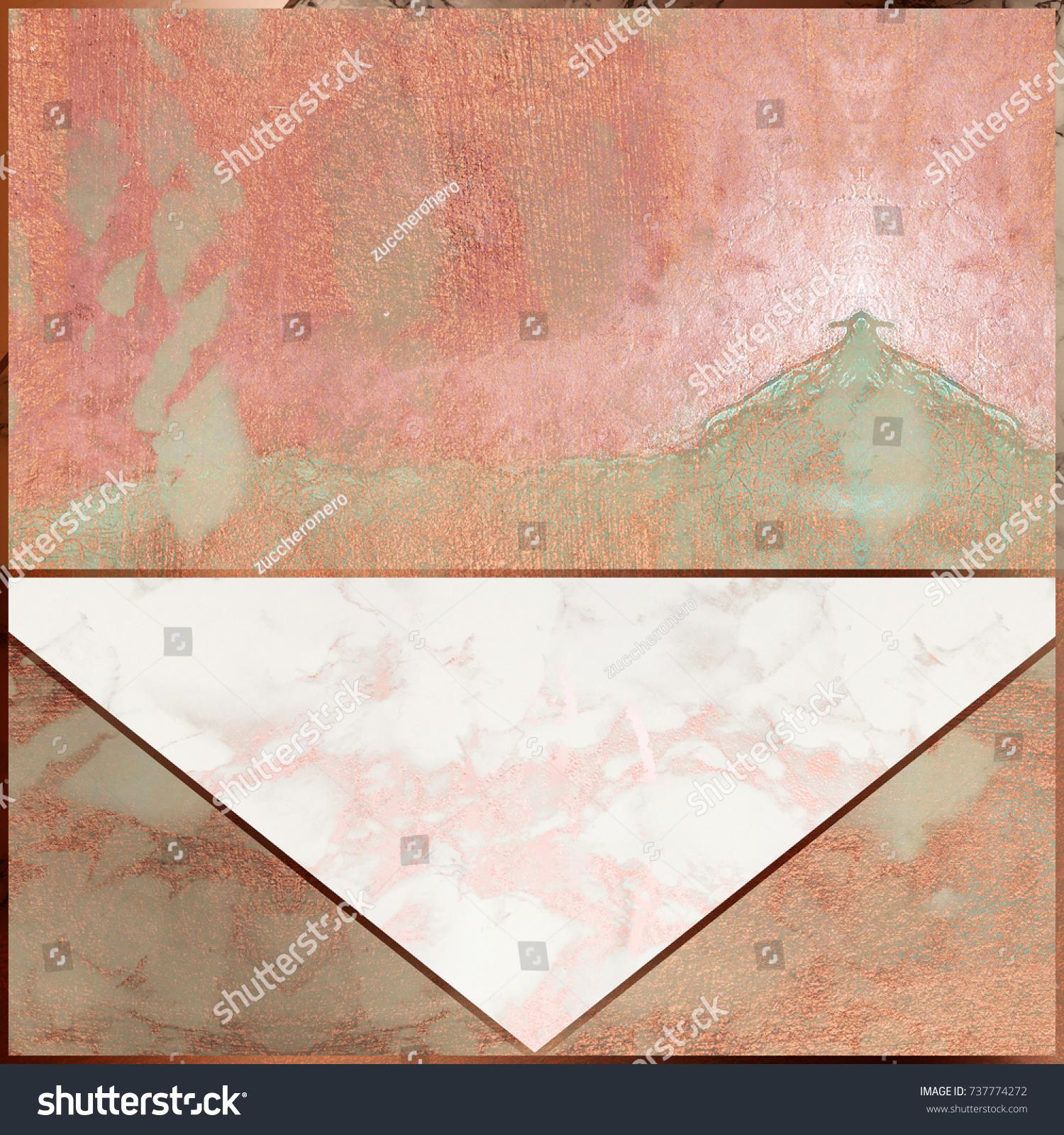 Rosegold Marble Background Minimal Geometric Wallpaper Stock