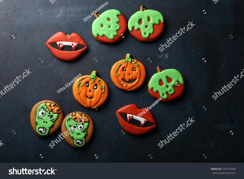 Funny Halloween Treats On Dark Background Stock Photo 737779246 ...