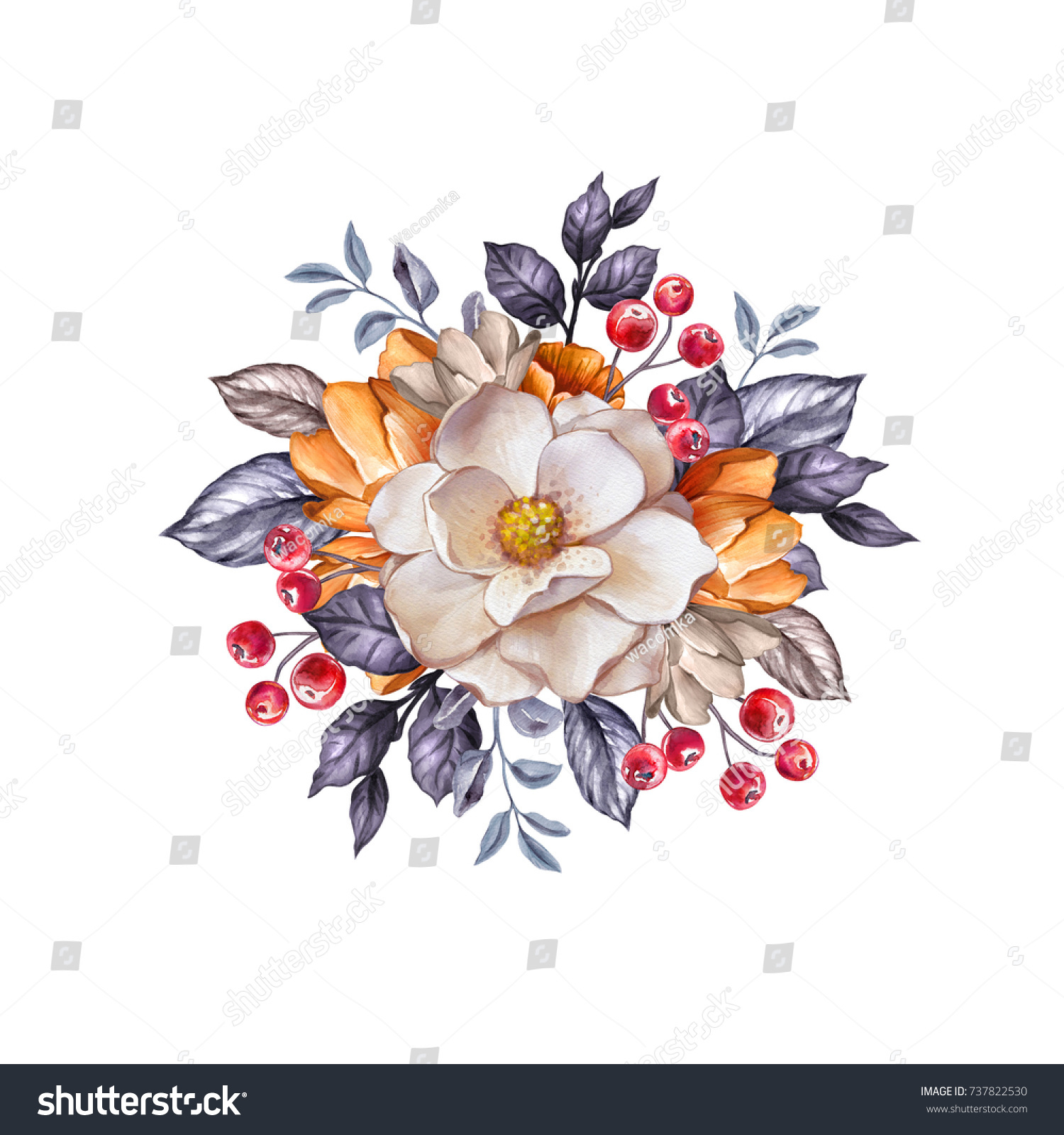 Round Floral Bouquet Autumn Botanical Background Stock Illustration ...